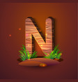 wooden letter n decorated with grass vector image vector image