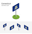 flag of connecticut usa 3d isometric icons vector image