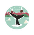 alaska landscape with forest mountains and whale vector image