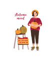 autumn mood postcard flat template girl vector image vector image