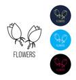 beautiful rose flowers logo emblem vector image