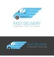 Blue delivery van logo vector image vector image
