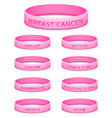 Breast cancer awareness month rubber wristband vector image vector image