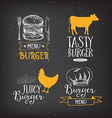 Burger menu restaurant badges Fast food design vector image vector image