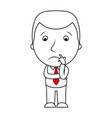 businessman line cartoon face sad expression vector image vector image