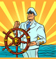 captain in a white uniform at helm ship vector image