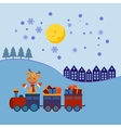 Christmas train with gifts vector image vector image