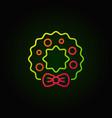 christmas wreath colored line icon on dark vector image