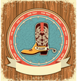 Cowboy shoeWestern label background on old wood vector image vector image