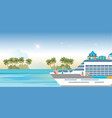 cruise ship with tourists traveling on a cruise vector image