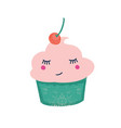 cute cupcake with cherry flat vector image