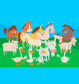 cute farm animal cartoon characters group vector image vector image