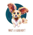 cute little dog funny avatar portrait pet vector image vector image