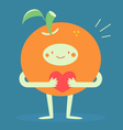 Cute Orange Hugging a Heart vector image vector image