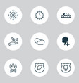 ecology icons set with cloudy weather plant tree vector image vector image