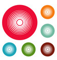 equalizer radio icons circle set vector image vector image