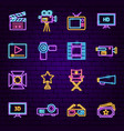 film neon icons vector image
