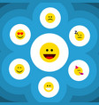 flat icon expression set of laugh grin smile and vector image vector image