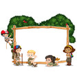 frame template with kids camping in background vector image vector image