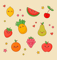 fruit food kawaii cute face set orange and apple vector image vector image