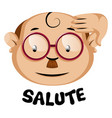 funny human emoji with a salute symbol and vector image vector image