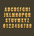 gold 3d font realistic metal latin alphabet vector image
