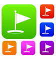 golf flag set color collection vector image vector image
