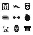 hall for running icons set simple style vector image vector image