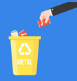 hand pick metal canned of soft drink and colorful vector image
