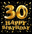 happy birthday 30rd celebration gold balloons and vector image vector image