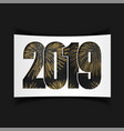 happy new year card black number 2019 with gold vector image
