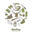 Hunting doodle set Sketches Vintage vector image