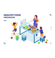 kitchen with family cooking healthy vegan food vector image vector image
