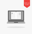 Laptop with a book on screen icon online library vector image vector image