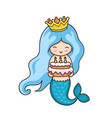 little mermaid with birthday cake vector image vector image