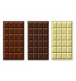 milk dark and white chocolate bar set vector image