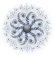 Ornament on grey blue background vector image