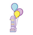 party balloons helium with candle number one vector image vector image
