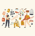 people buying food for pets male and female vector image vector image