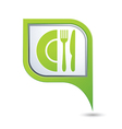 restaurant icon on green pointer vector image vector image