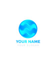 round logo with blue waves vector image vector image