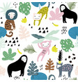 seamless pattern with lemur orangutan monkey and vector image vector image