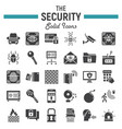 security solid icon set cyber protection signs vector image vector image