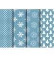 set blue and white seamless backgrounds vector image