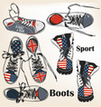 set hand drawn sport boots vector image vector image
