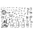 set of mulled wine elements and objects vector image