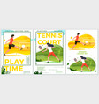 summer sport posters set - football tennis vector image vector image