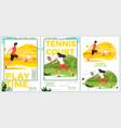 summer sport posters set - football tennis vector image vector image