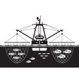 trawler ship catch fishes in the sea vector image