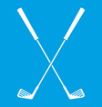 two golf clubs icon white vector image vector image